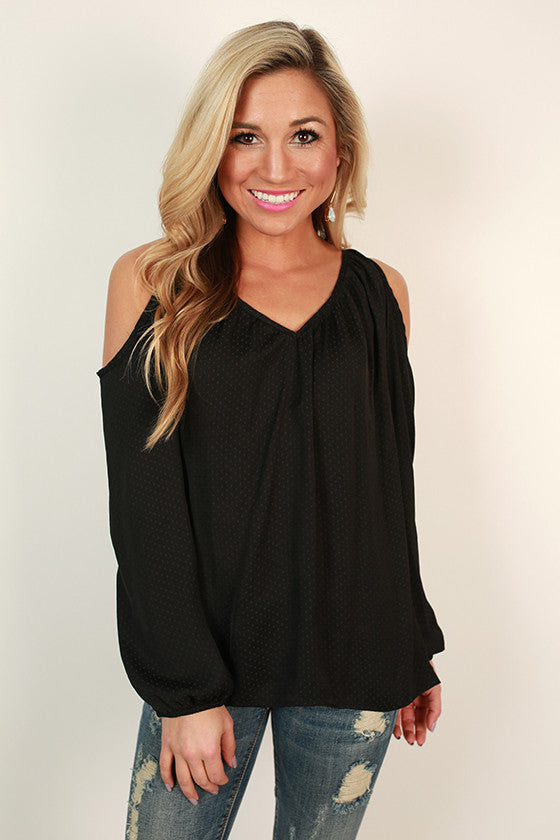Friday Vibes Cold Shoulder Top in Black