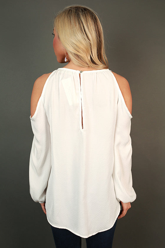 Friday Vibes Cold Shoulder Top in White