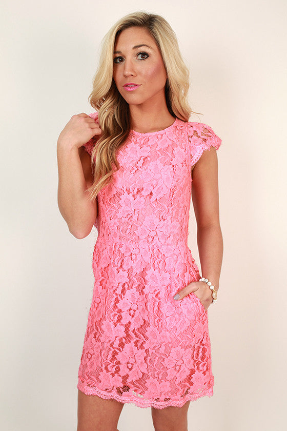Queen's Lace Mini Dress in Pink