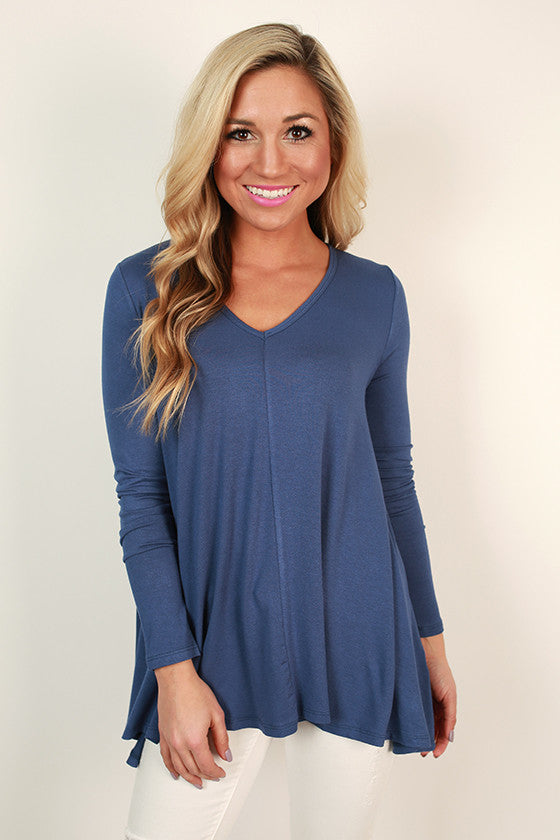 Love Letter V-Neck Tee in Blue