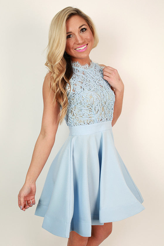 Love Me Like You Do Dress in Sky Blue
