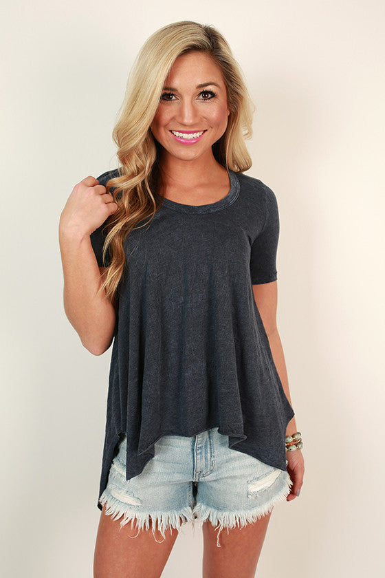 Memories Made Mineral Wash Tee in Indigo Blue