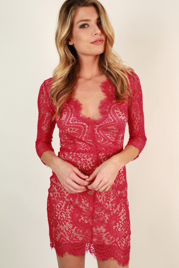 Royalty Lace Open Back Dress in Raspberry