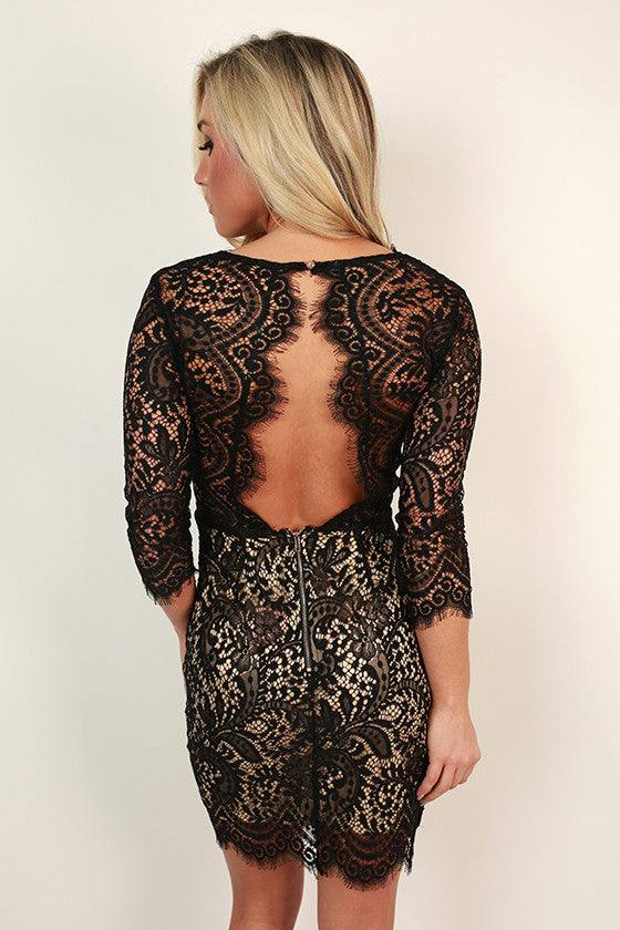 Royalty Lace Open Back Dress in Black