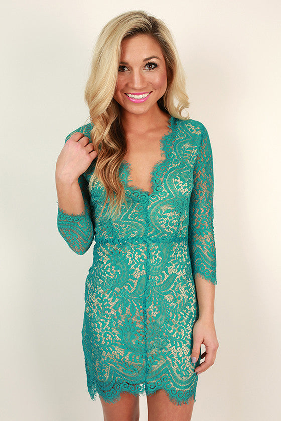 Royalty Lace Open Back Dress in Turquoise