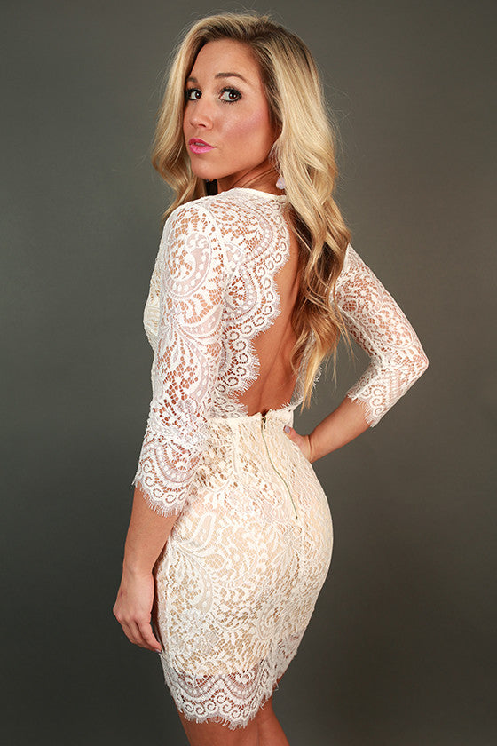 c489b8e3aea2 Royalty Lace Open Back Dress in White • Impressions Online Boutique