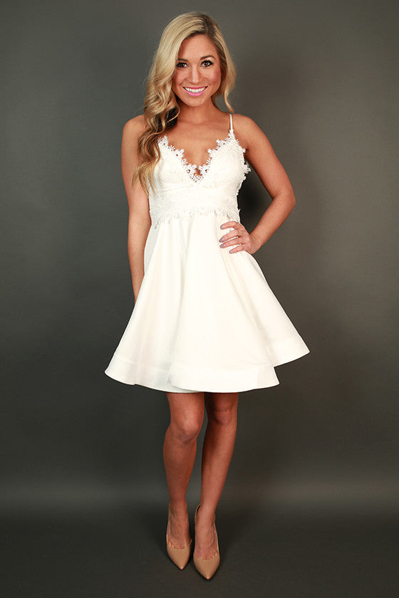 Delicate Details Lace Fit & Flare Dress in White