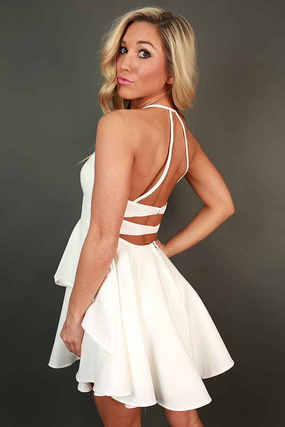 Royal Ruffles Mini Dress in White