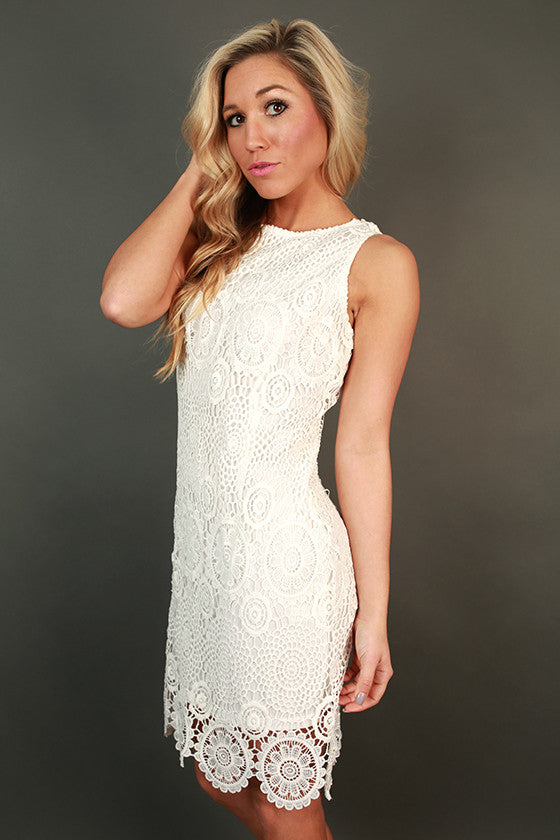 Champagne Brunch Crochet Dress