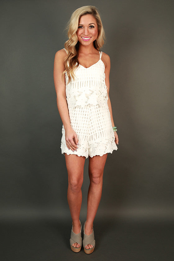 Showered In Love Crochet Romper in White
