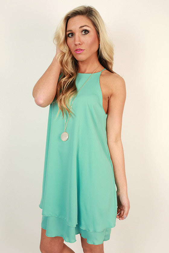 Brunch Date Shift Dress in Ocean Wave
