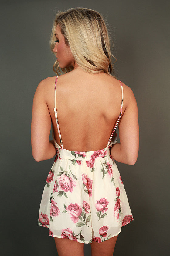 All The Rage in Roses Romper in Cream