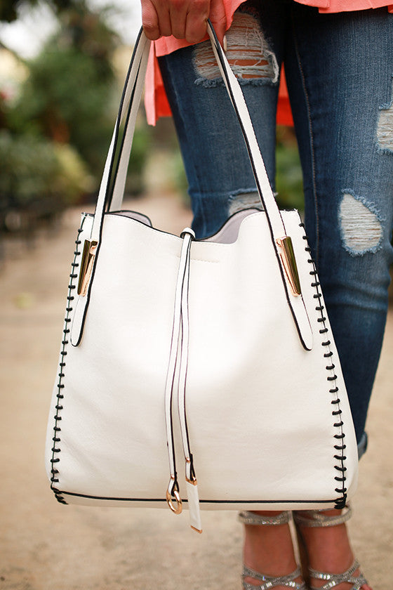 Well Traveled Tote Bag in White