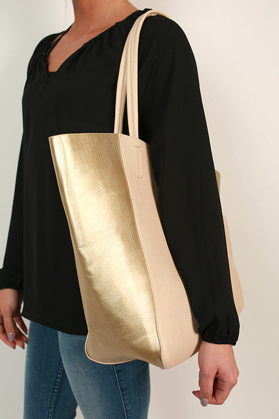 Weekend in Soho Tote in Gold