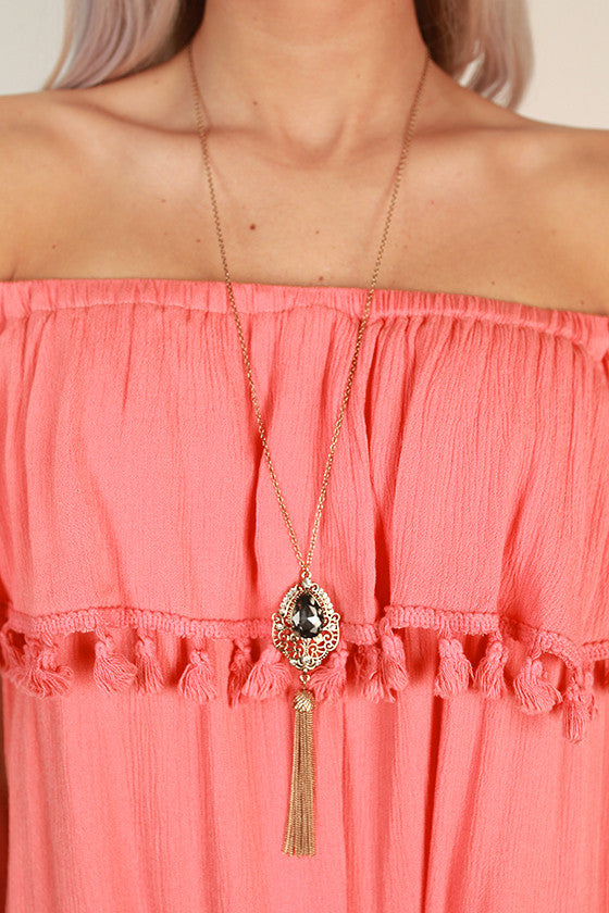 Work Hard Sparkle Hard Tassel Necklace in Black