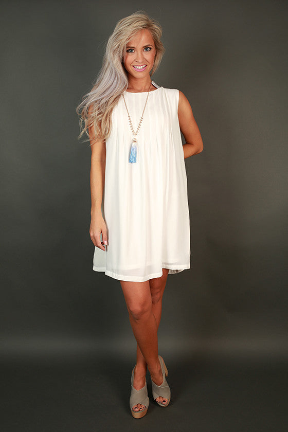 Midnight in Paris Shift Dress in White