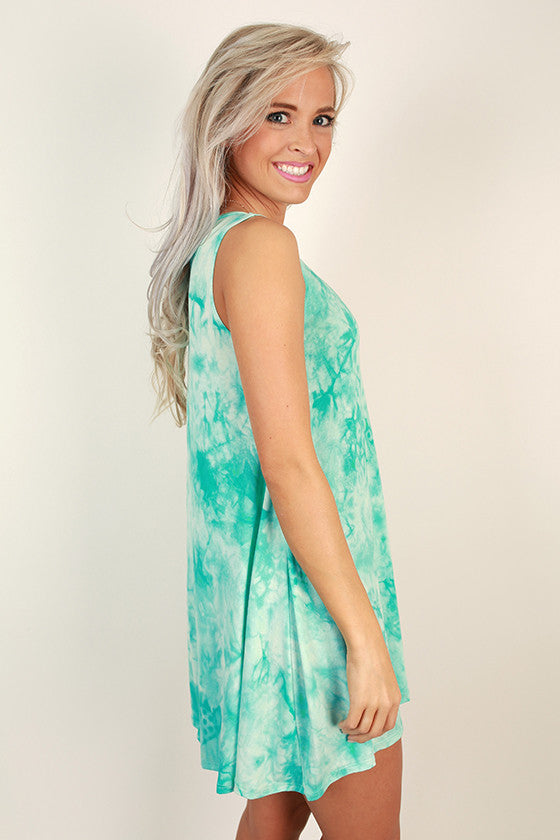 Road Trip Ready Tie Dye Tank Dress in Turquoise