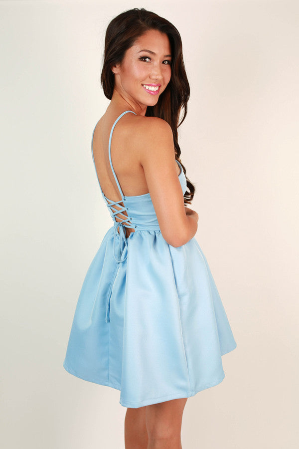 Cross My Heart Fit & Flare Mini in Sky Blue