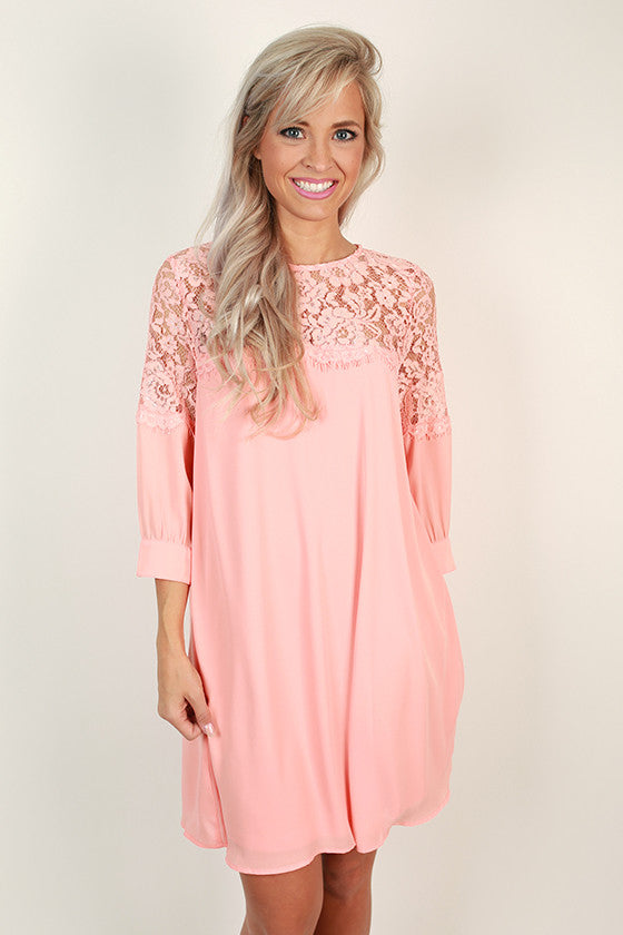Rhythm & Lace Shift Dress in Peach