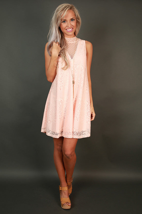 Paradise Lace Shift Dress in Peach