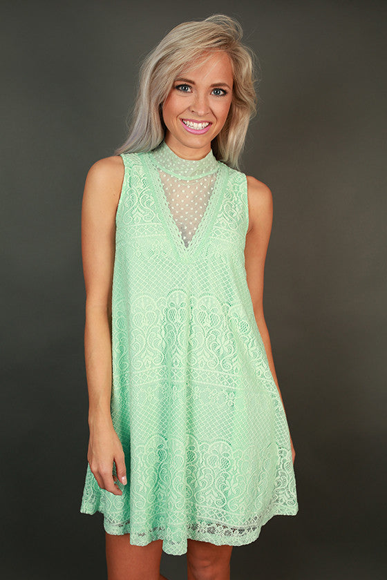 Paradise Lace Shift Dress in Mint