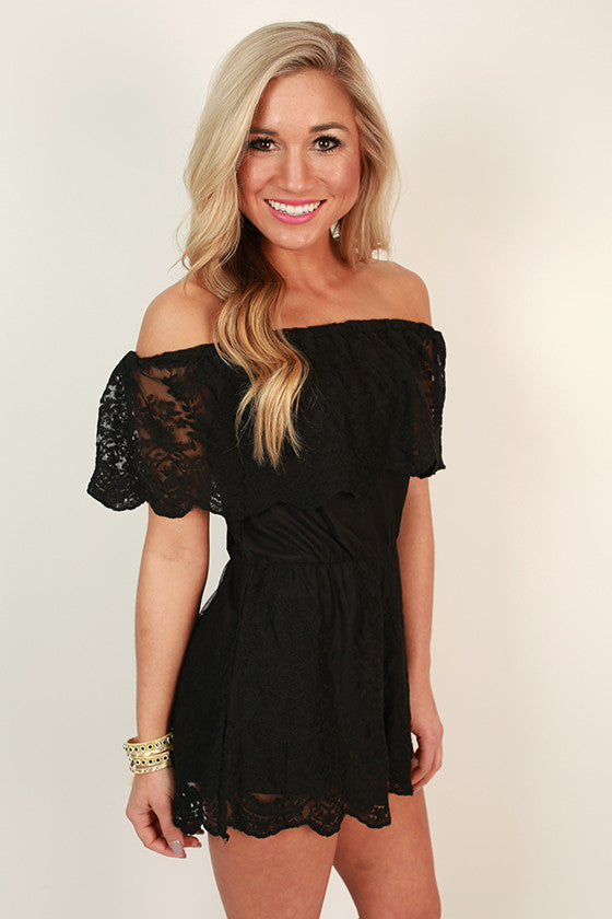 Parisian Lace Off Shoulder Romper in Black