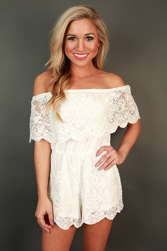 Parisian Lace Off Shoulder Romper in White