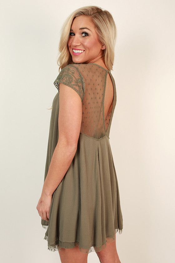 Romance in Venice Shift Dress in Army Green