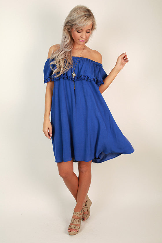 Boardwalk Bliss Off Shoulder Dress in Royal Blue