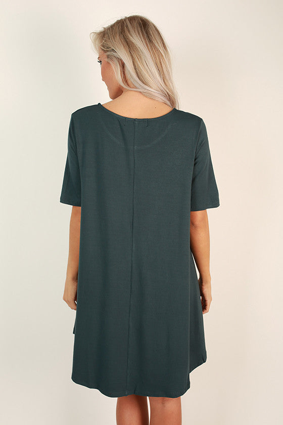 Weekend Vibes T-shirt Dress in Teal