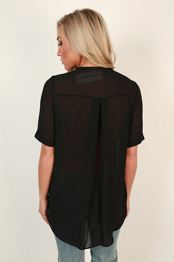 Chiffon & Champagne Wrap Front Top in Black