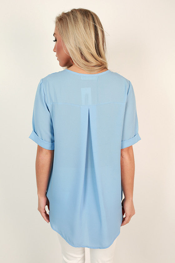 Chiffon & Champagne Wrap Front Top in Serenity