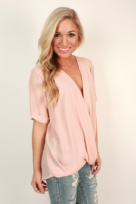 Chiffon & Champagne Wrap Front Top in Light Peach