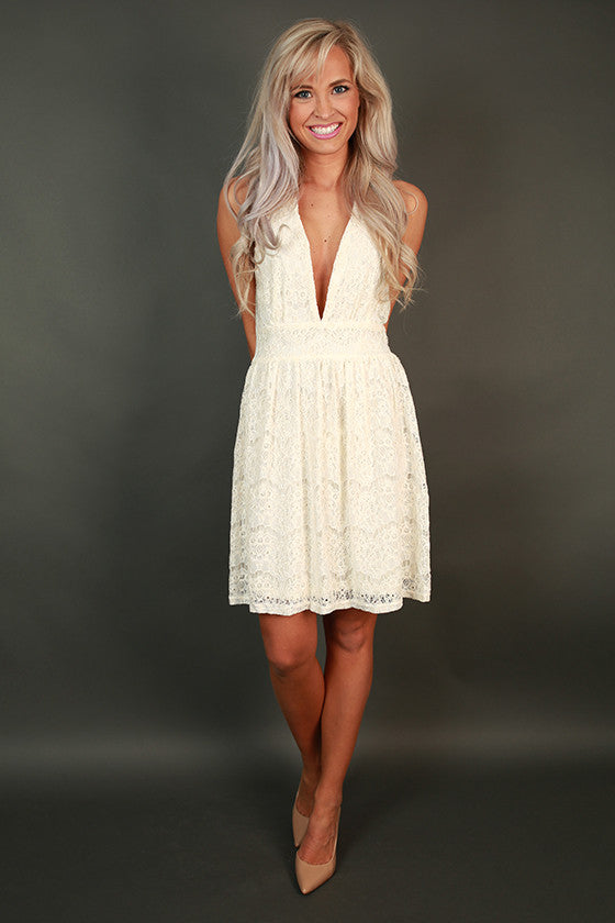 Timeless Twirls Halter Lace Dress in Ivory