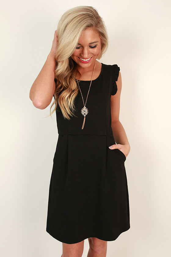 Parisian Romance Ruffle Dress in Black