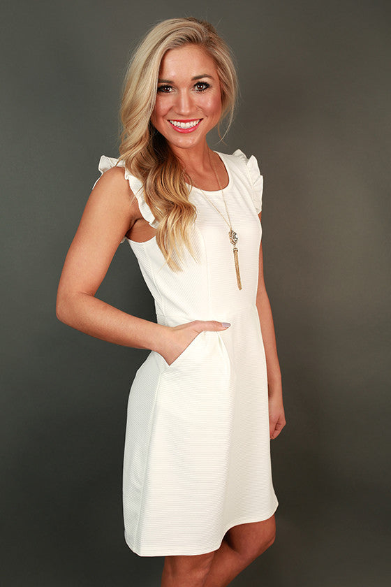 Parisian Romance Ruffle Dress in White