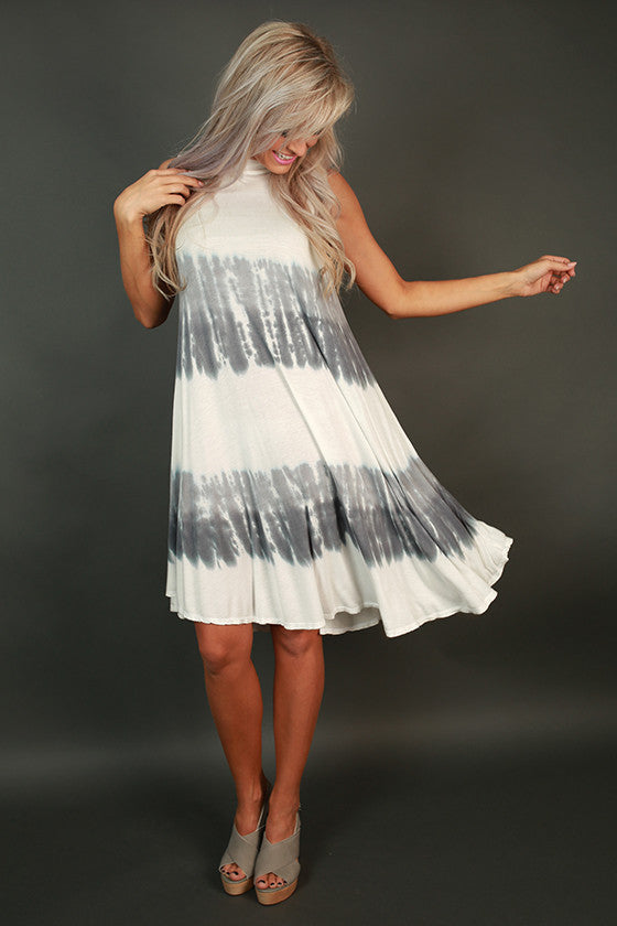 Coastal Adorable Shift Dress in Grey