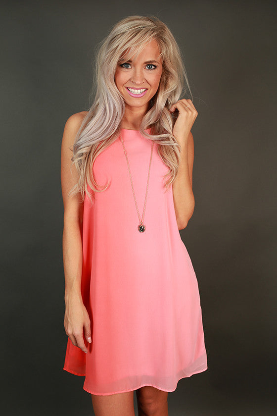 Picnic In The Park Shift Dress in Coral