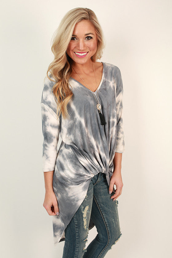 Seaside Twist Tie Dye Tee in Slate