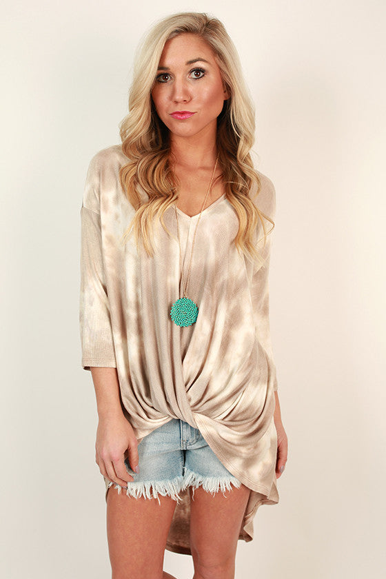 Seaside Twist Tie Dye Tee in Iced Coffee