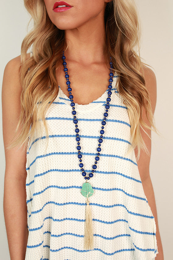 Jewel of the Sea Necklace in Royal Blue