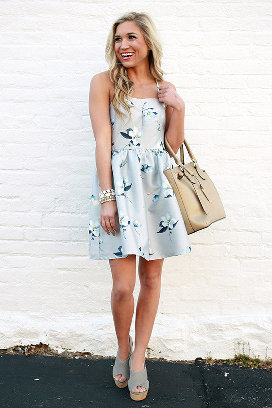 Floral on Repeat Fit & Flare Mini in Grey