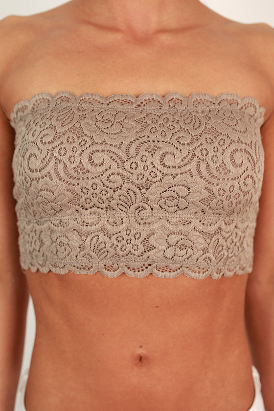 Scallop Lace Bandeau in Charcoal