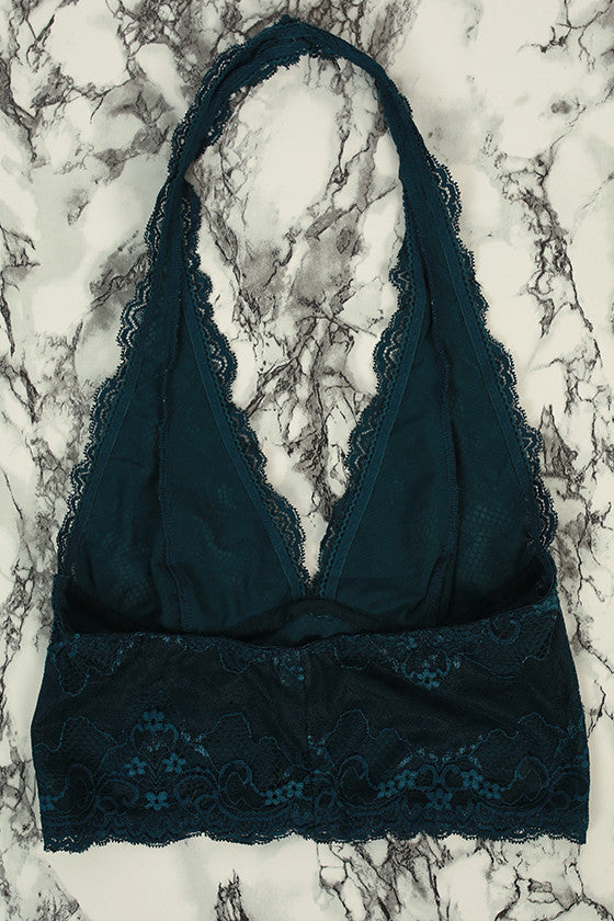 Halter Lace Bralette Midlength in Dark Teal
