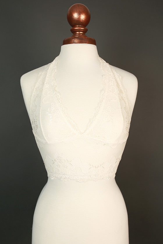 Halter Lace Bralette Midlength in White