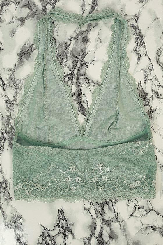 Halter Lace Bralette Midlength in Dusty Mint