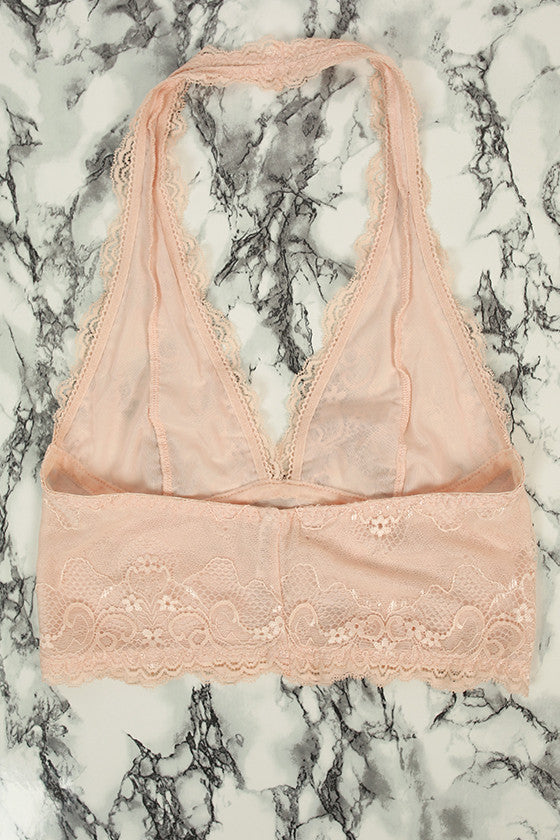 Halter Lace Bralette Midlength in Nude
