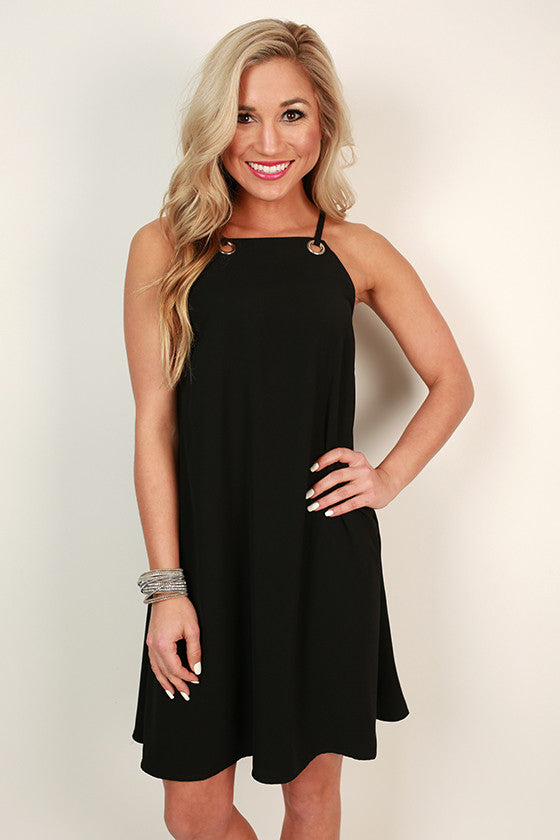 On Repeat Grommet Shift Dress in Black