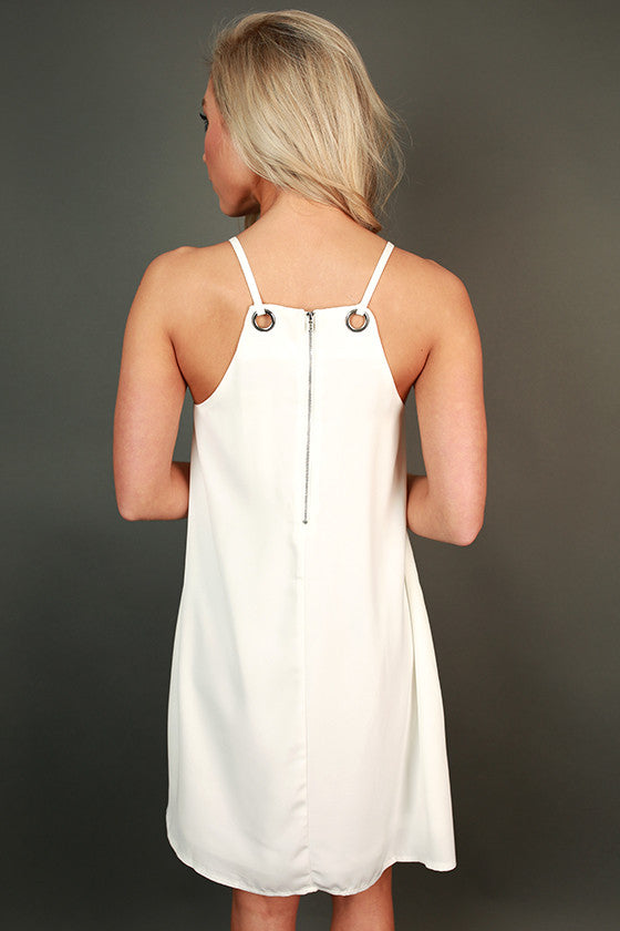 On Repeat Grommet Shift Dress in White