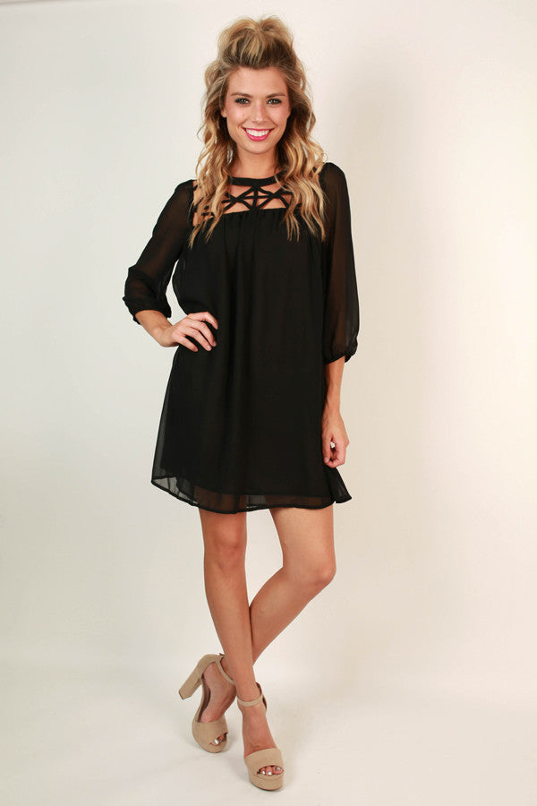 Romance & Roses Shift Dress in Black